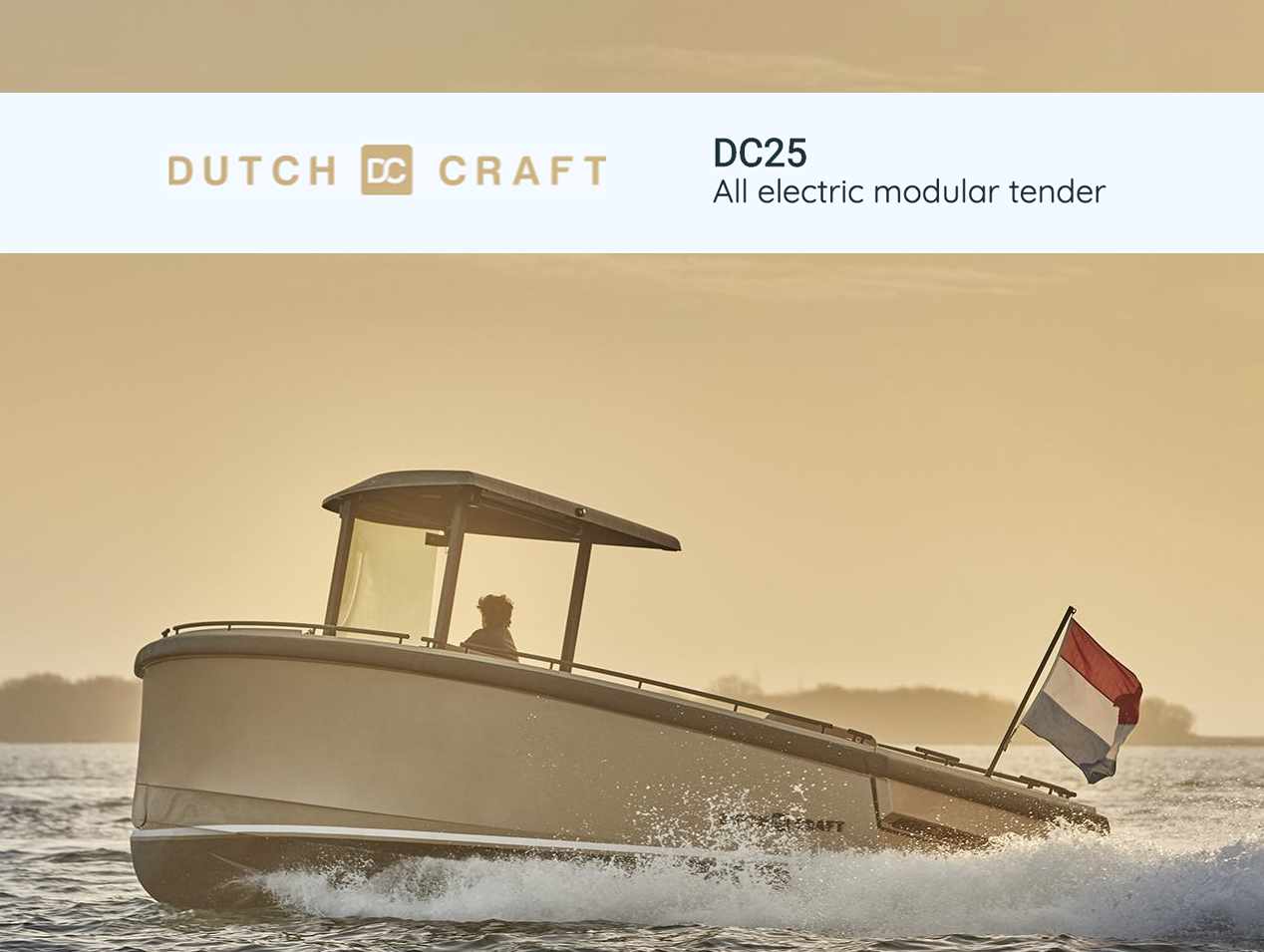DutchCraft DC25 Electric Boat. Photo by DutchCraft.
