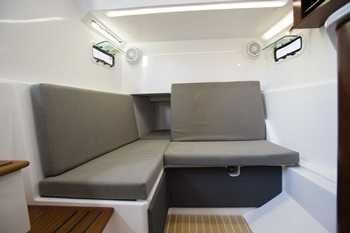 The sub-console cabin on the Everglades 435 CC is big enough for a convertible queen-sized berth, a galley, and a head. Note the opening ports for light and ventilation.