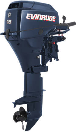 Evinrude's portable four-stroke outboard lineup is actually manufactured by Tohatsu. The rest of Evinrude's outboard range is comprised completely of two-stroke technology. Photo courtesy of Evinrude.