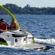 Water ballast and trim tab controls create great wakes, and the Forward Drive minimizes prop threat to riders.