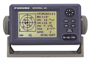 This AIS transceiver not only broadcasts information about the vessel it's installed on, but receives information about other AIS-equipped vessels as well. Note the various targets on the display, represented as circles with direction marks. Image courtesy of Furuno.