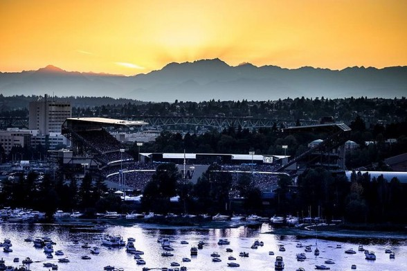 "Voted the ""most scenic football structure"" in America, Husky Stadium is perfect for visiting by boat. Photo courtesy of the University of Washington."