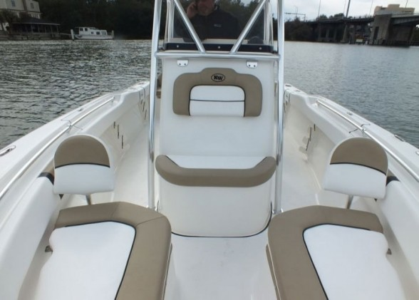 Pile the kids into the bow—there are plenty of comfy spots to relax on the Key West 219FS.