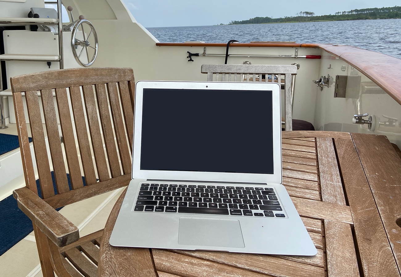 Laptop On A Boat