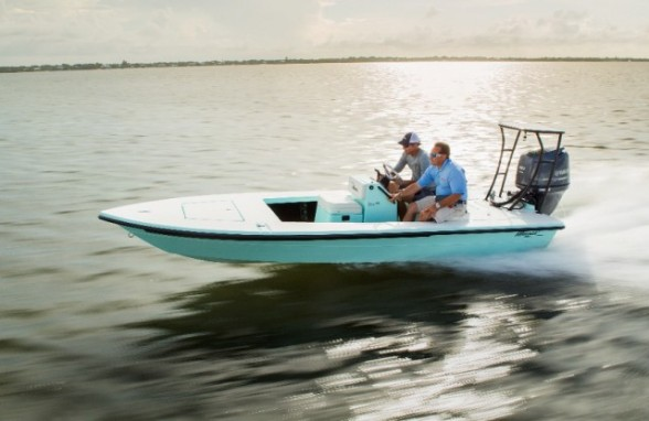 """Many saltwater boats, like this <A HREF=""""http://www.boats.com/reviews/maverick-hpx-v-ii-flats-boat-fantasy/"""">Maverick HPX-V II</A>""""technical poling skiff ,"""" are highly specialized for specific fisheries."""