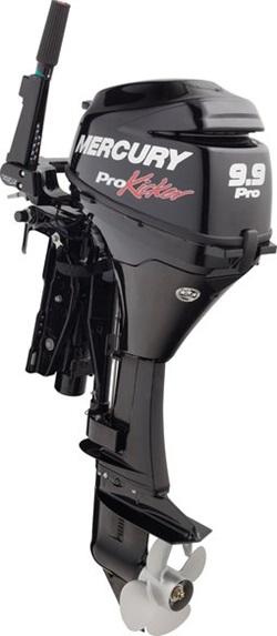 In addition to a large propeller, Mercury's ProKicker outboards have improved gear ratios and beefier lower unit components. Photo courtesy of Mercury Marine.