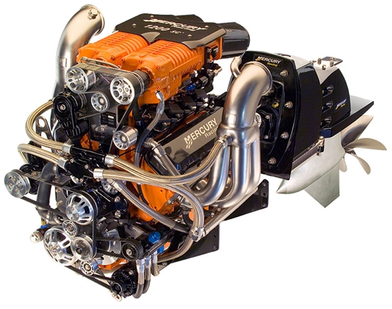 High-performance engines such as this HP1200SCi from Mercury Racing, have used stainless-steel braided hose and AN fittings for years. They're strong, reliable, and now they cost less than they used to. Photo Courtesy of Mercury Racing.