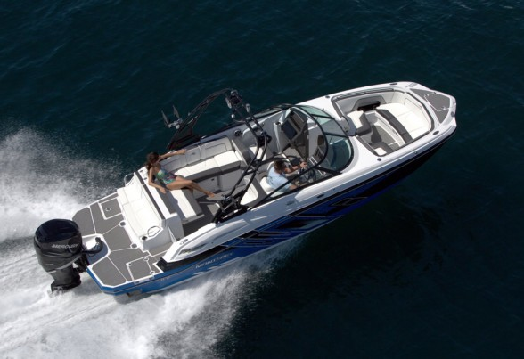 The Monterey M-65 comes with a 300-horsepower Mercury Verado or Yamaha outboard.