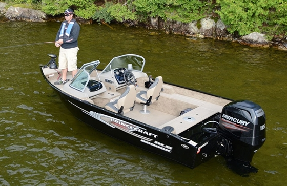 The Princecraft Nanook DLS WS is rated for 115 horsepower. With the Mercury powerplant shown the boat cruises at over 30 mph. and tops out in the mid 40s.