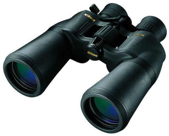 This is a good set of zoom 10-22 X 50 binoculars -- but they're intended for use on land, not on a rocking boat. Either a stabilized pair, or a pair with no more than 7 X magnification will serve boaters much better. Photo courtesy of Nikon.