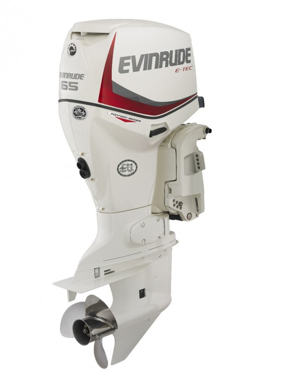 Evinrude's Pontoon Series engines are designed to work in the turbulence created behind the tubes.