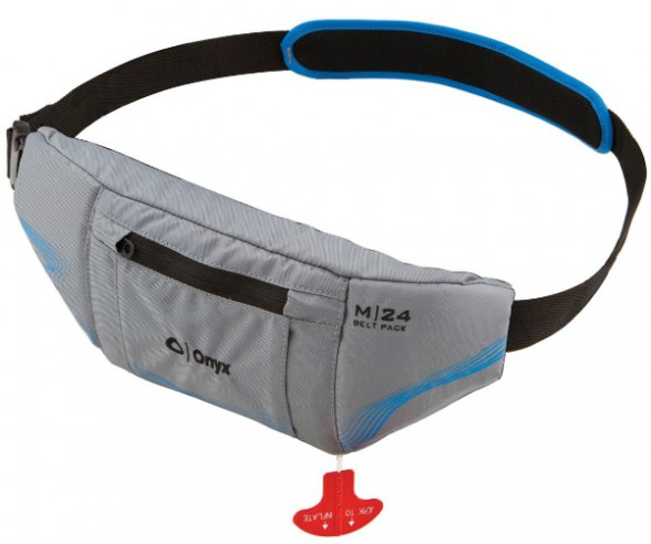 A belt-type inflatable. Simply pull the cord and a wearable PFD emerges. Photo courtesy of Onyx.
