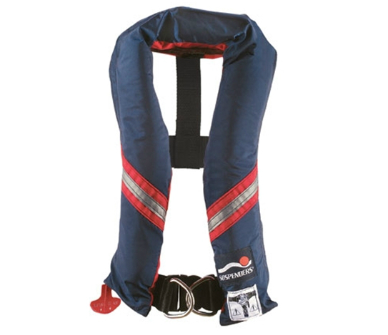 An automatic inflatable life vest with integral harness. Note the D-ring attachment points. Photo courtesy of SOSPENDERS.