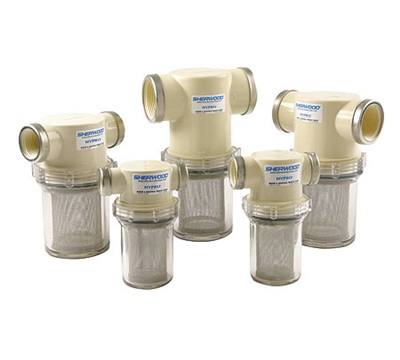 Finding individual parts for plastic strainers like these can sometimes be difficult. Plastic strainers are most often used on smaller pumps, such as those used for fresh water, or for raw-water wash-downs. Photo courtesy of Jabsco.