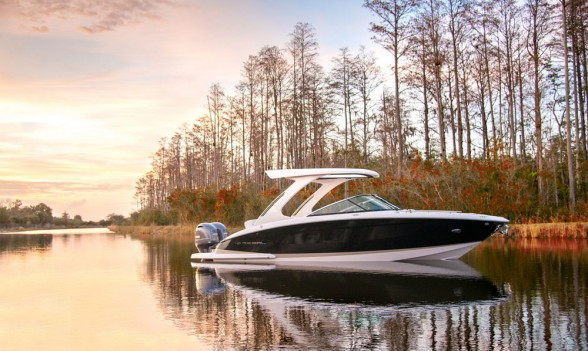 Revealing a trend among runabout and deck boat builders, the Regal 29 OBX sports twin Yamaha outboard power. Regal photo.