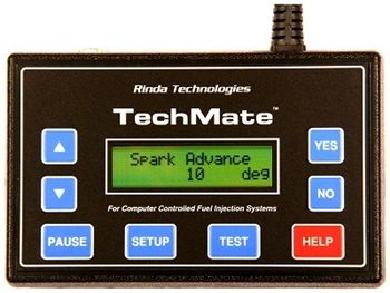 Rinda's TechMate diagnostic tool can help with determining engine hours on a used boaat with digital fuel injection.