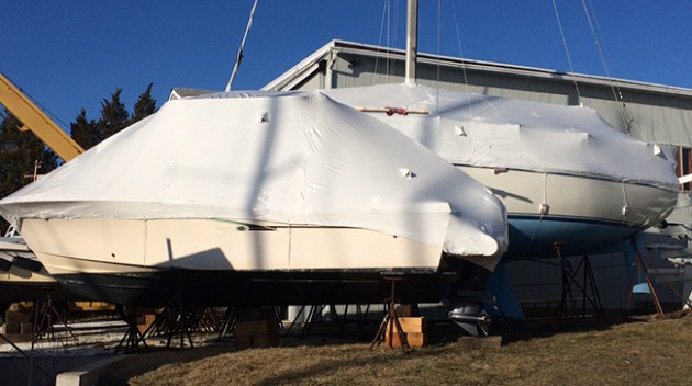 Boats can be professionally shrink-wrapped to help protect them during transport.