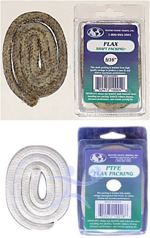 There are different kinds of packing materials like the standard flax version (top) or the Teflon/ PTFE type below.