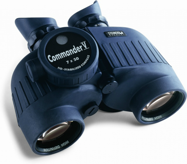 A pair of 7 X 50 binoculars with a compass built in. Photo courtesy of Steiner.