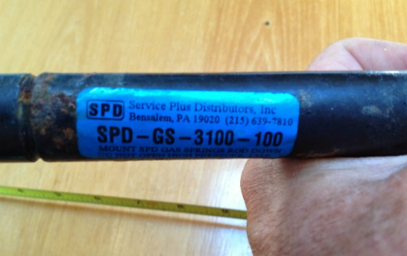 Luckily, this old, inoperative gas strut had a part number on it. A Google search on the number revealed that the strut had been made by Associated Spring Raymond.