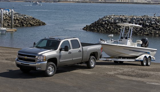 Chevy Pickup Truck With Boat Trailer At Ramp