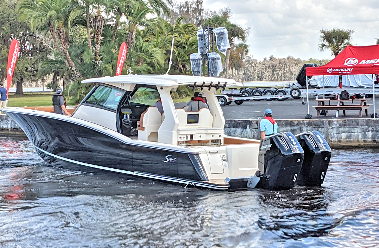 Twin Mercury V12 600 HP Outboard Engines On A Scout Center Console Boat. Photo: Alan Jones.