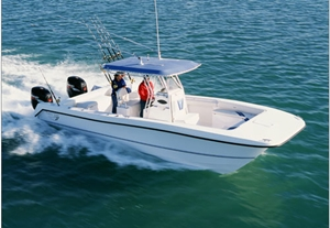 Center-consoles also come in catamaran form, like this Twin-Vee 29 Ocean Cat, powered by twin outboards.