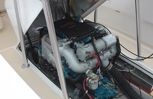 The Crusader engine under this Vanquish 24 console has its weight low and centered in the boat.