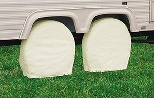 Wheel covers slow down UV degradation of tires that sit still for long periods of time.