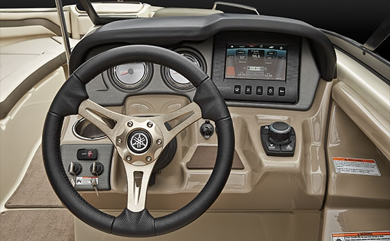 The Connext system at the helm combines a touchscreen and joystick control to perform a wide variety of chores, including help with low-speed steering.