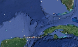 The Yucatan Channel, between Cancun and the west end of Cuba, can be a busy body of water.